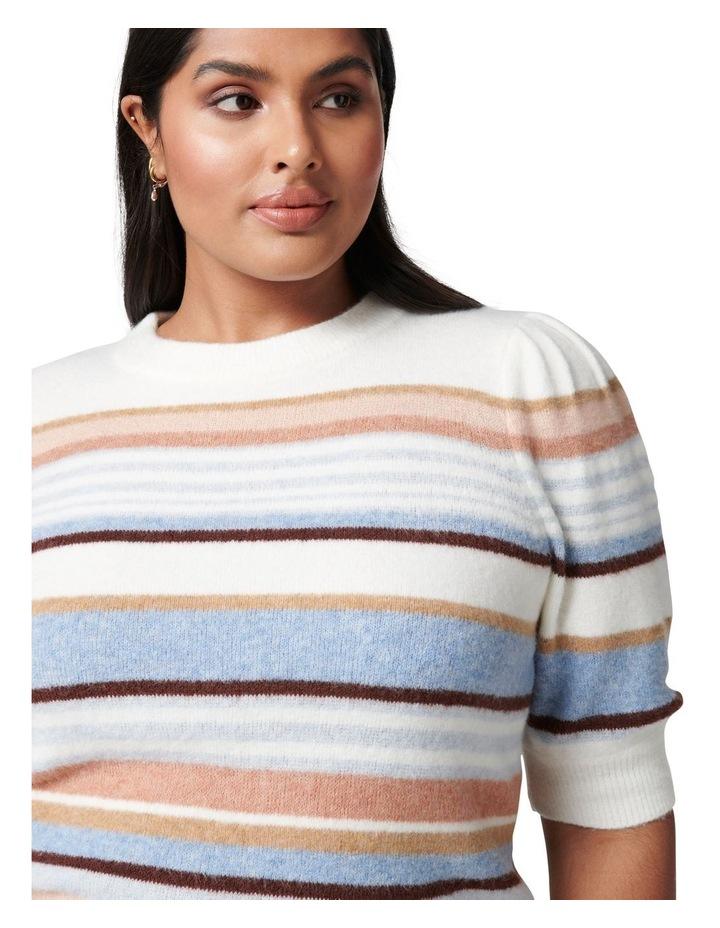 Clara Curve Puff Sleeve Stripe Knit Top image 2