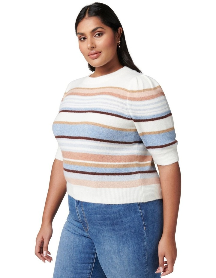 Clara Curve Puff Sleeve Stripe Knit Top image 3