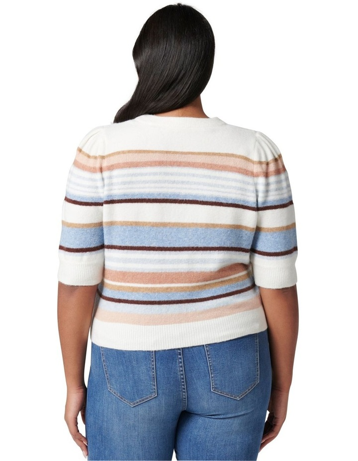 Clara Curve Puff Sleeve Stripe Knit Top image 4