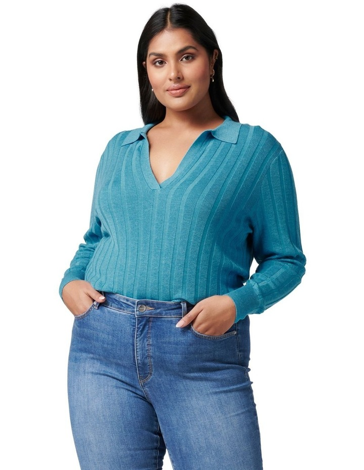 Isla Curve Cinched Polo Knit Jumper image 1