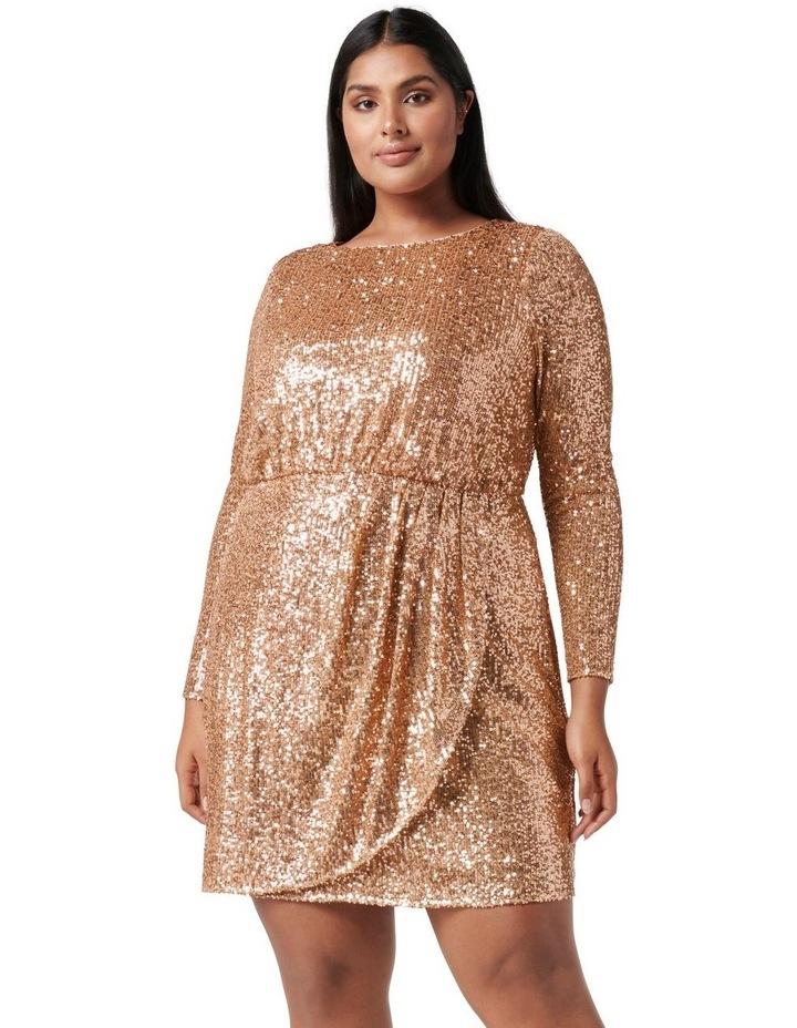 Juniper Curve Sequin Wrap Mini Dress Bronze image 1