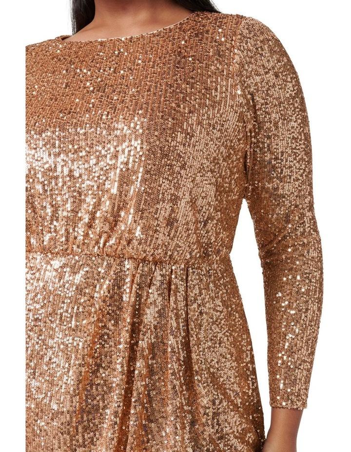 Juniper Curve Sequin Wrap Mini Dress Bronze image 2