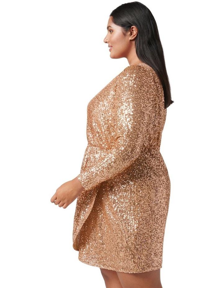 Juniper Curve Sequin Wrap Mini Dress Bronze image 3