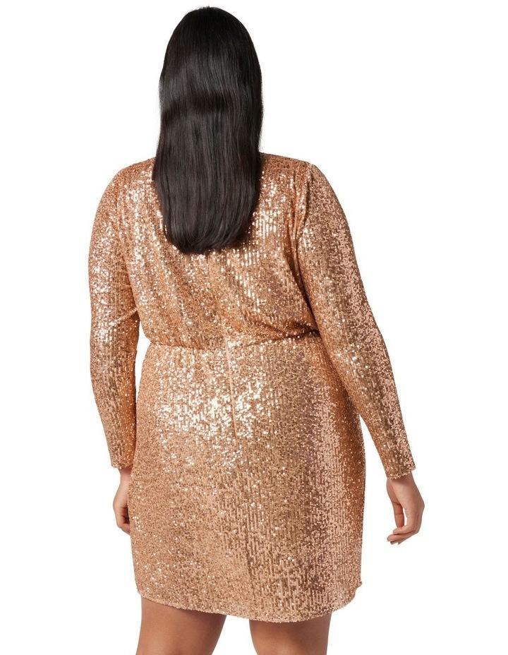 Juniper Curve Sequin Wrap Mini Dress Bronze image 4