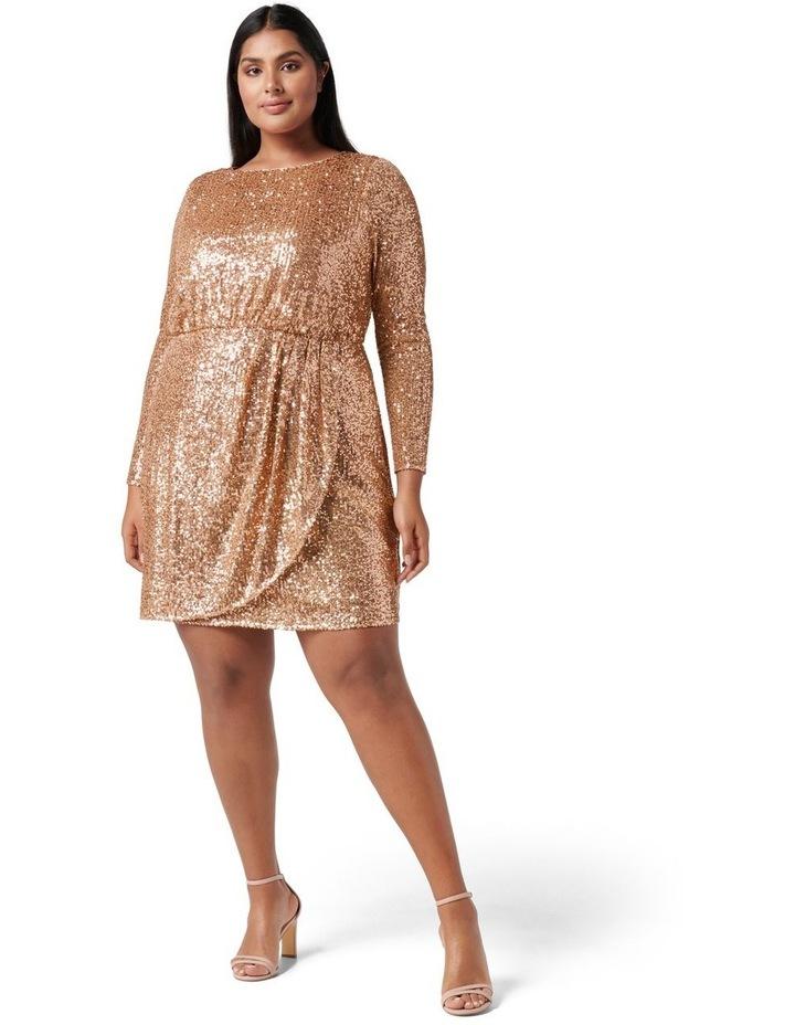 Juniper Curve Sequin Wrap Mini Dress Bronze image 5