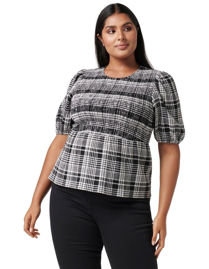 Kennedy Curve Shirred Check Top Black Check image 1