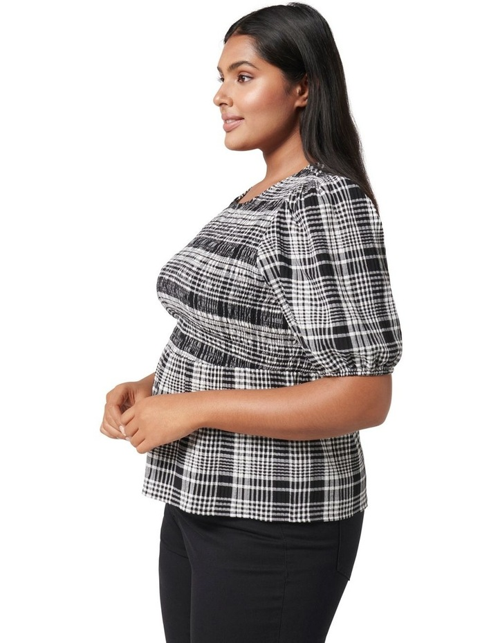 Kennedy Curve Shirred Check Top Black Check image 3