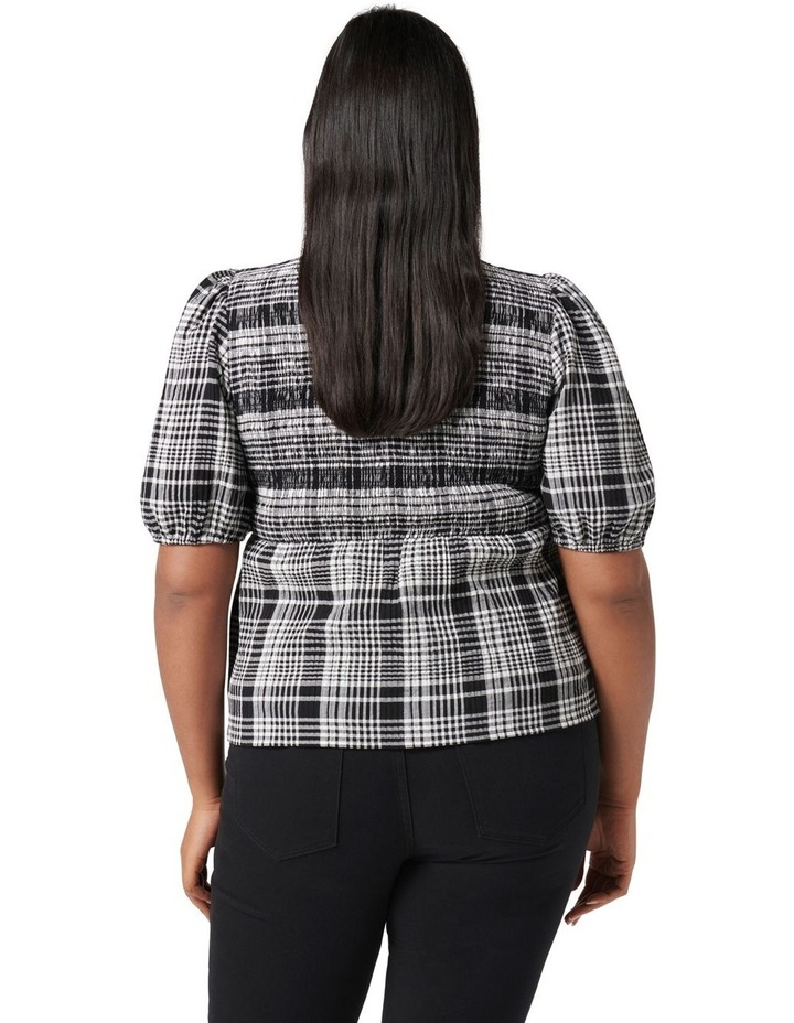 Kennedy Curve Shirred Check Top Black Check image 4