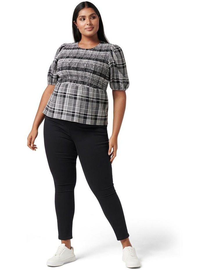 Kennedy Curve Shirred Check Top Black Check image 5