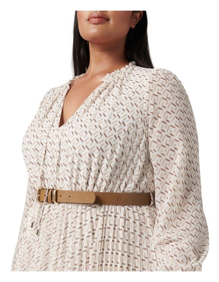 Carmen Curve Pleated Midi Dress Tan Block Geo image 2