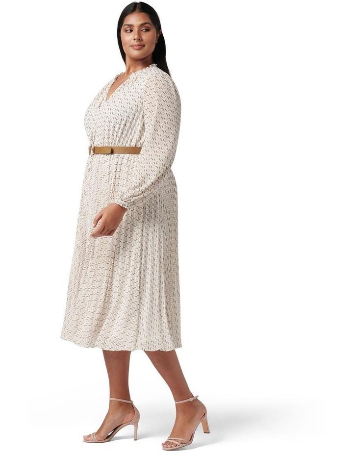 Carmen Curve Pleated Midi Dress Tan Block Geo image 3