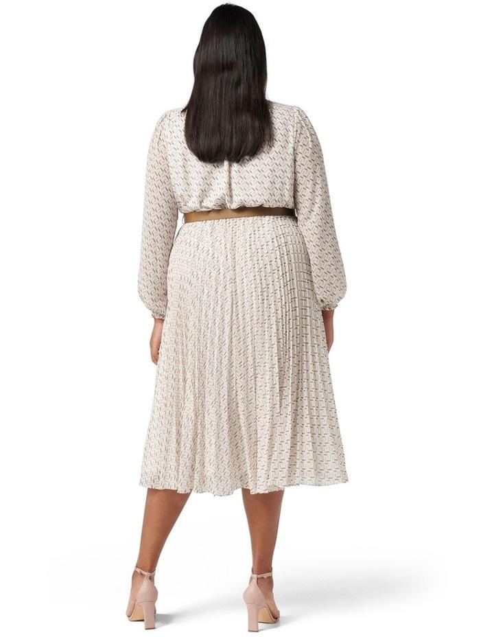Carmen Curve Pleated Midi Dress Tan Block Geo image 4