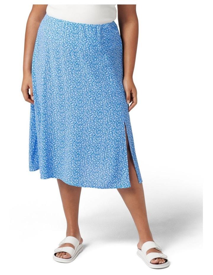 Estelle Curve Column Split Midi Skirt Apollo Blue Ditsy image 1