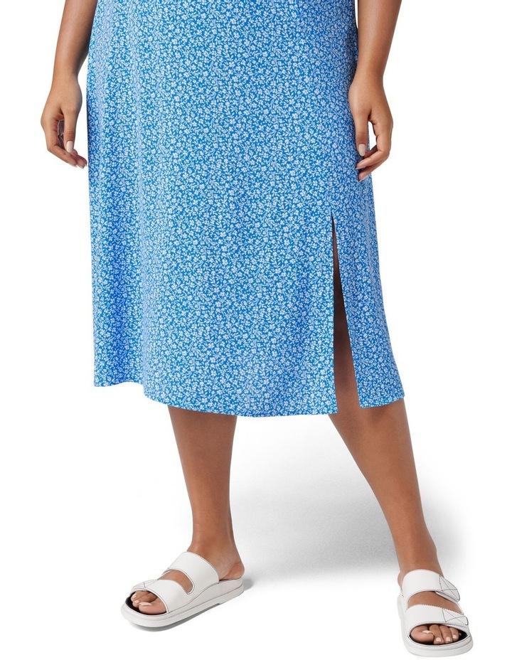 Estelle Curve Column Split Midi Skirt Apollo Blue Ditsy image 2