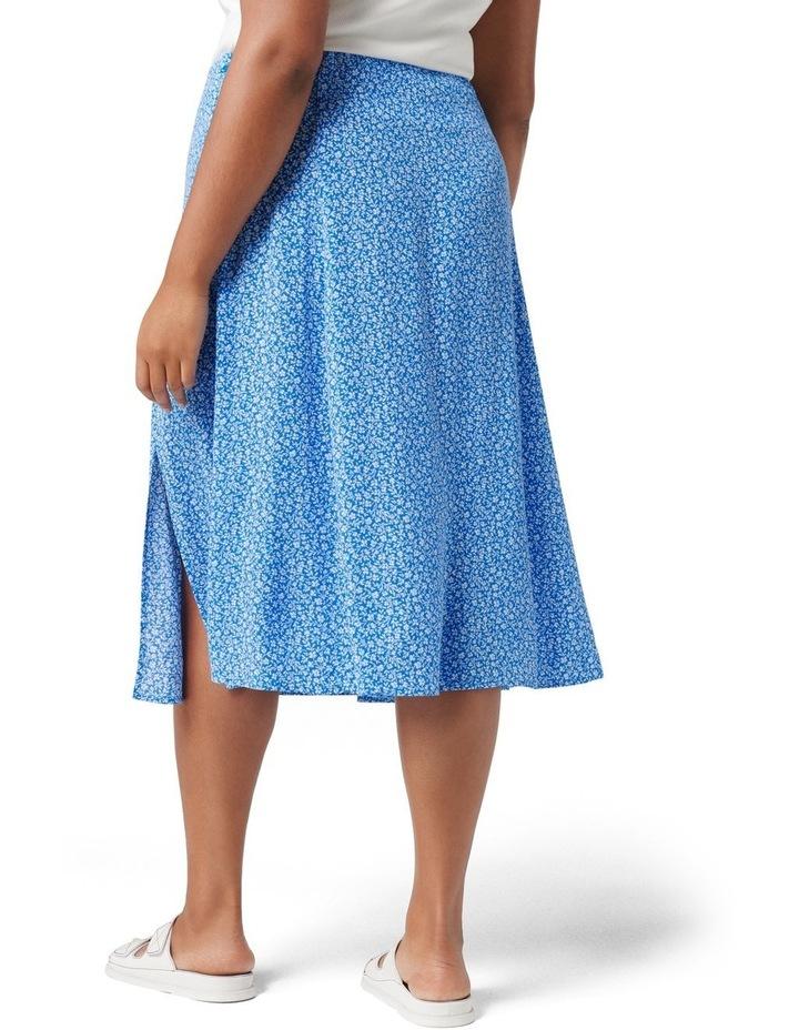Estelle Curve Column Split Midi Skirt Apollo Blue Ditsy image 4