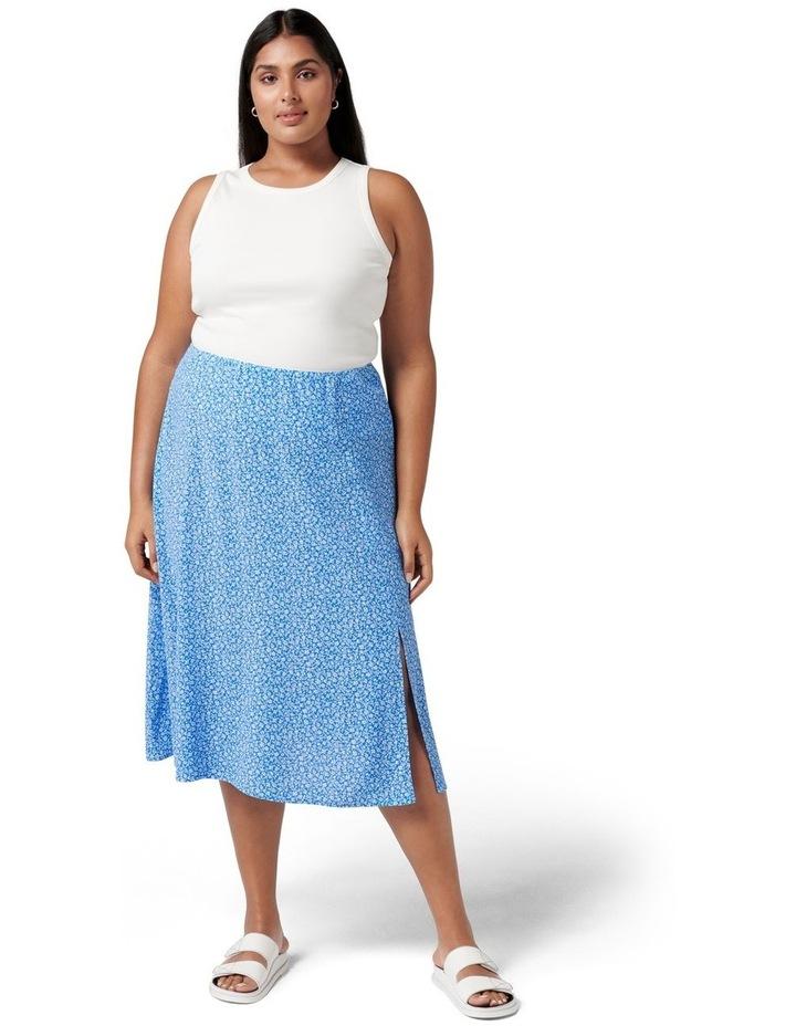 Estelle Curve Column Split Midi Skirt Apollo Blue Ditsy image 5