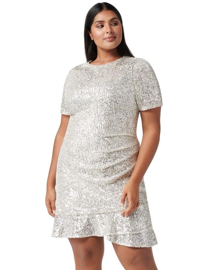 Delora Curve Sequin Mini Dress Silver image 1