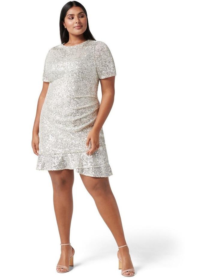 Delora Curve Sequin Mini Dress Silver image 4