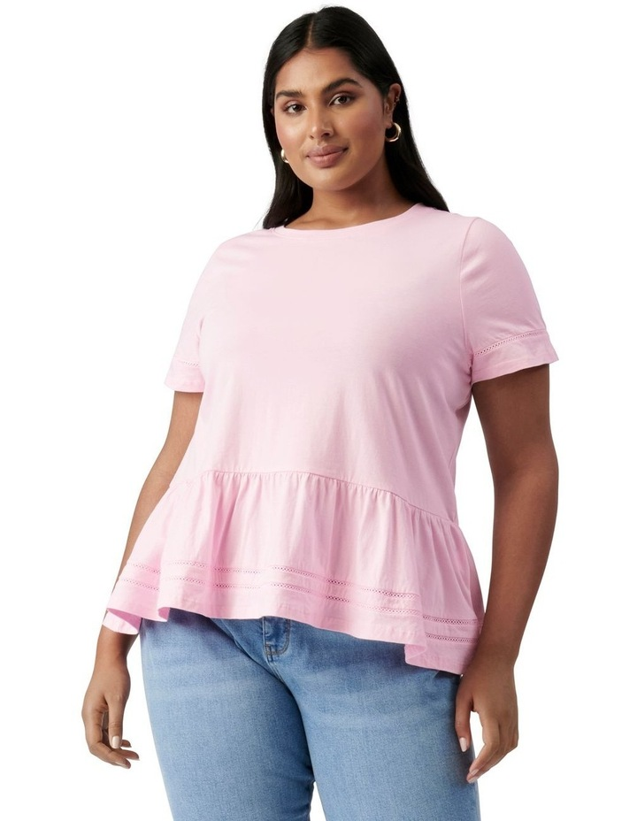 Toni Curve Lace Trim Smock Tee Candy Pink image 1