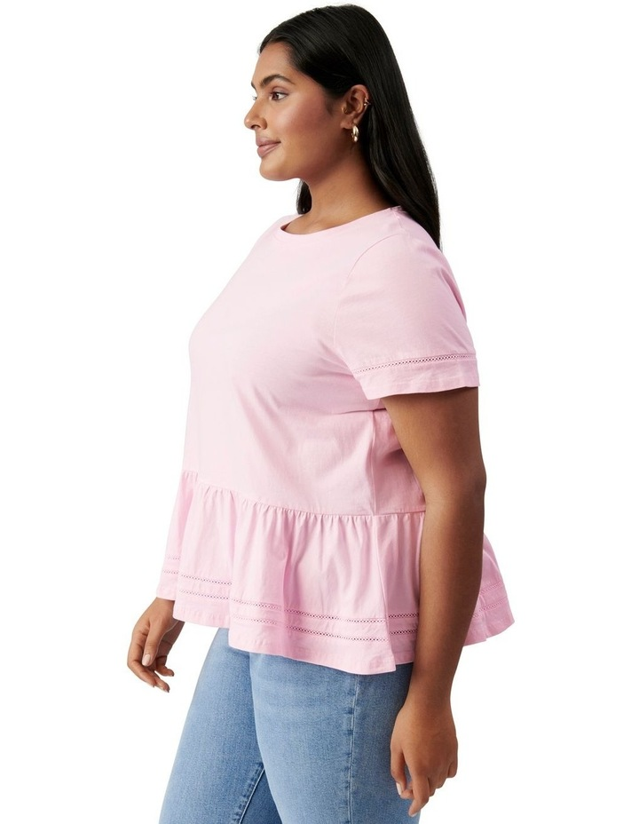 Toni Curve Lace Trim Smock Tee Candy Pink image 3