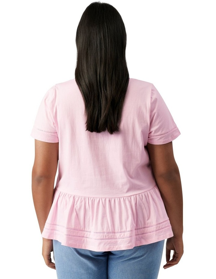 Toni Curve Lace Trim Smock Tee Candy Pink image 4