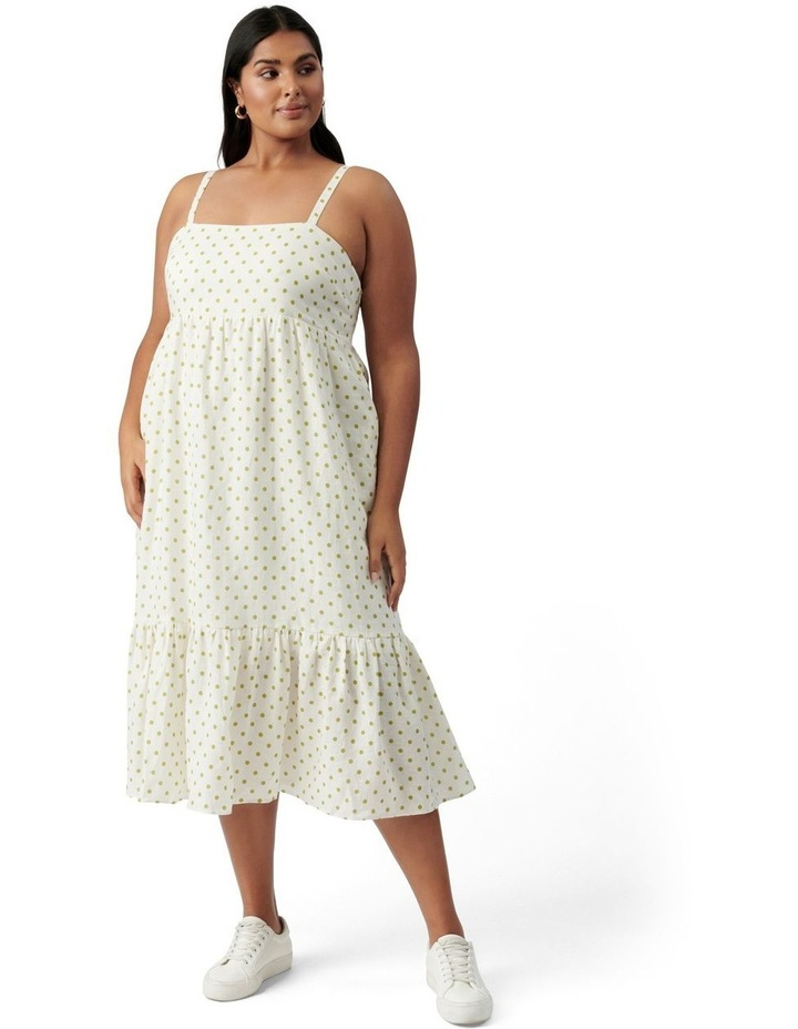 Blair Curve Linen Midi Dress Lime Dainty Spot image 1