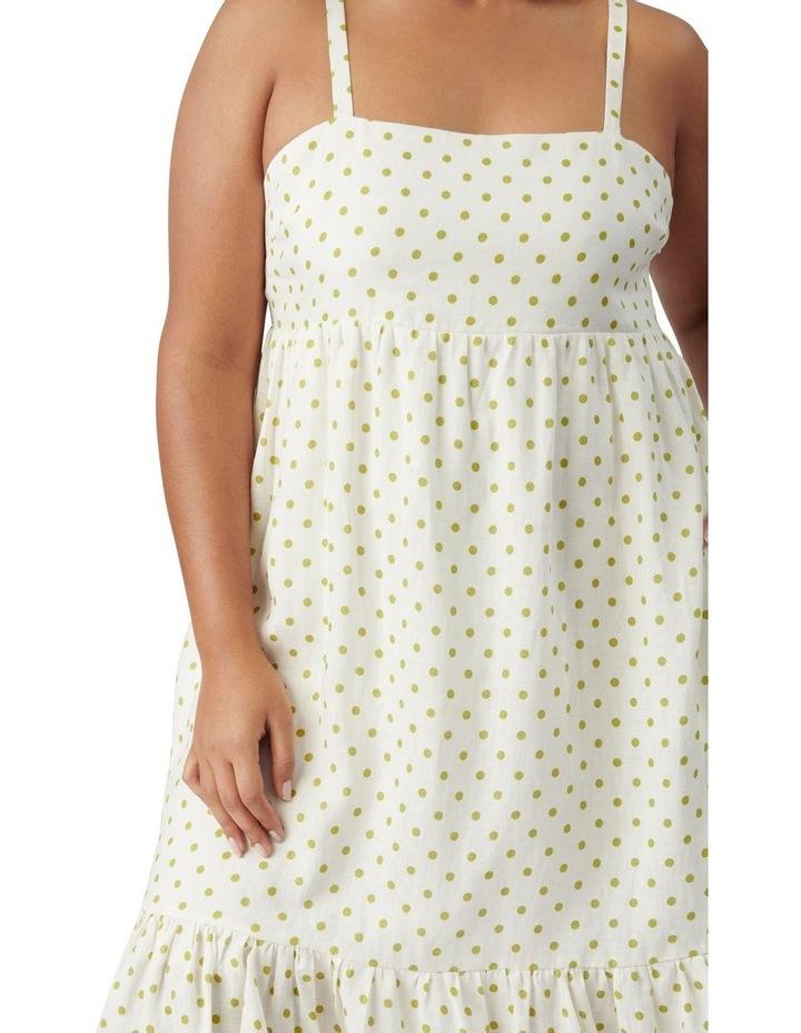 Blair Curve Linen Midi Dress Lime Dainty Spot image 2