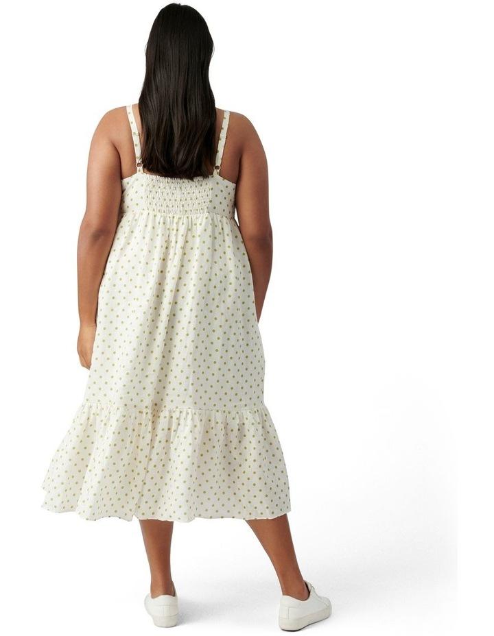 Blair Curve Linen Midi Dress Lime Dainty Spot image 4