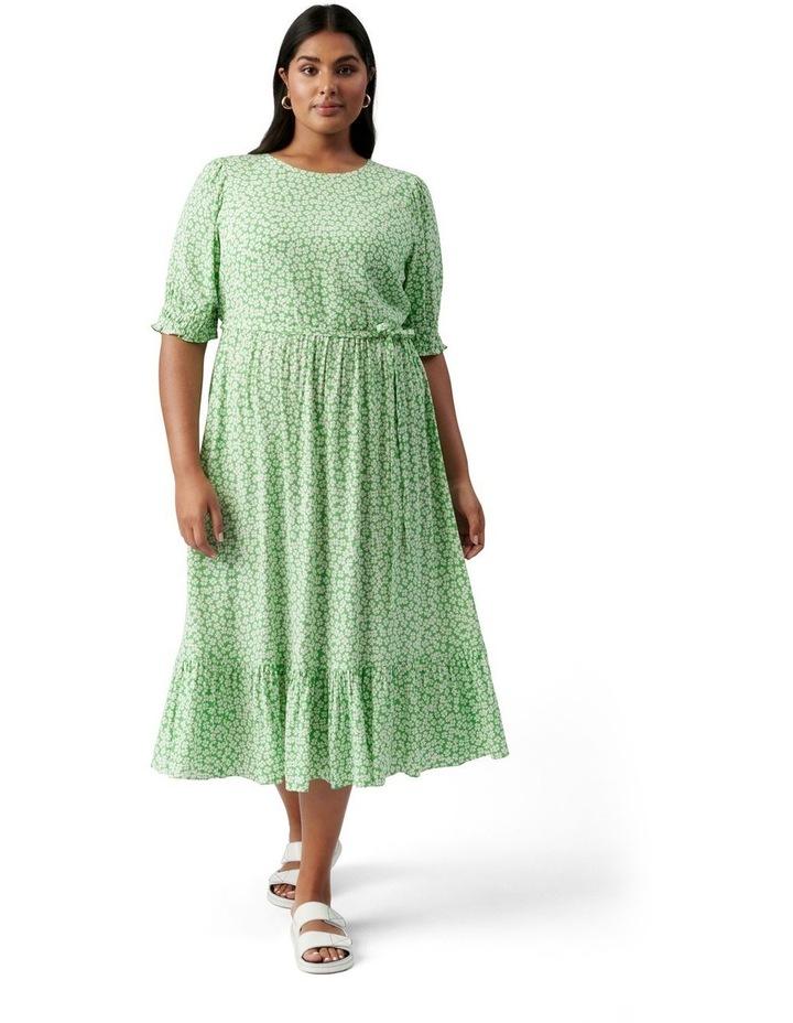Louise Curve Puff Sleeve Midi Dress Lime Retro Ditsy image 1