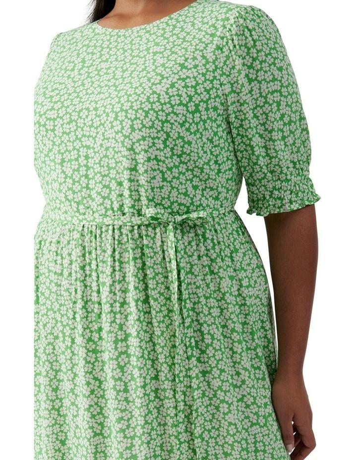 Louise Curve Puff Sleeve Midi Dress Lime Retro Ditsy image 2