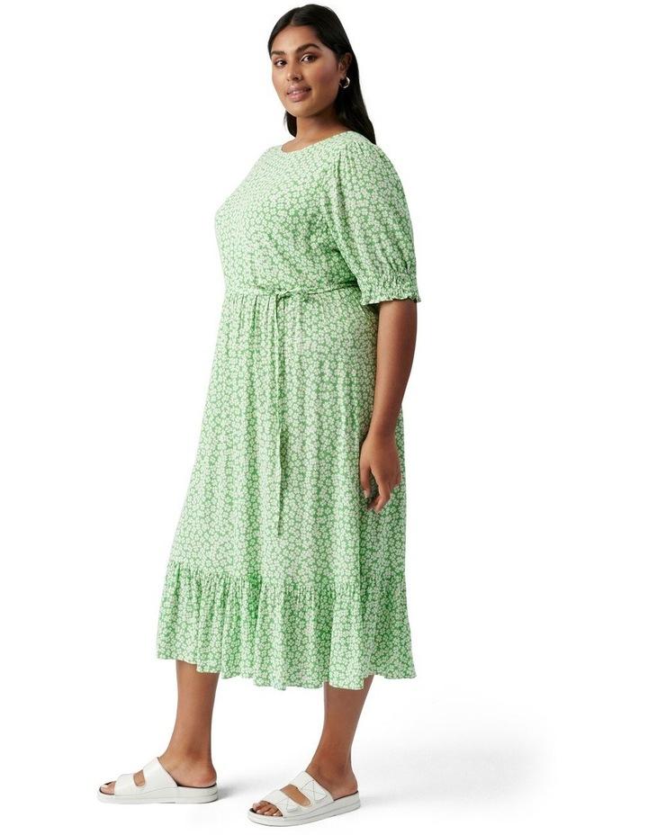 Louise Curve Puff Sleeve Midi Dress Lime Retro Ditsy image 3