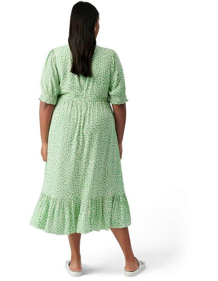 Louise Curve Puff Sleeve Midi Dress Lime Retro Ditsy image 4