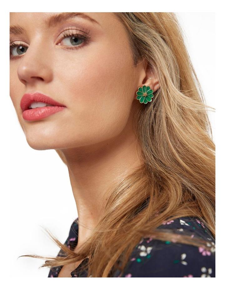 Enamel Flower Earrings image 2