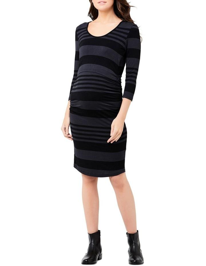 Striped Nursing Tube Dress-Long Sleeve image 1