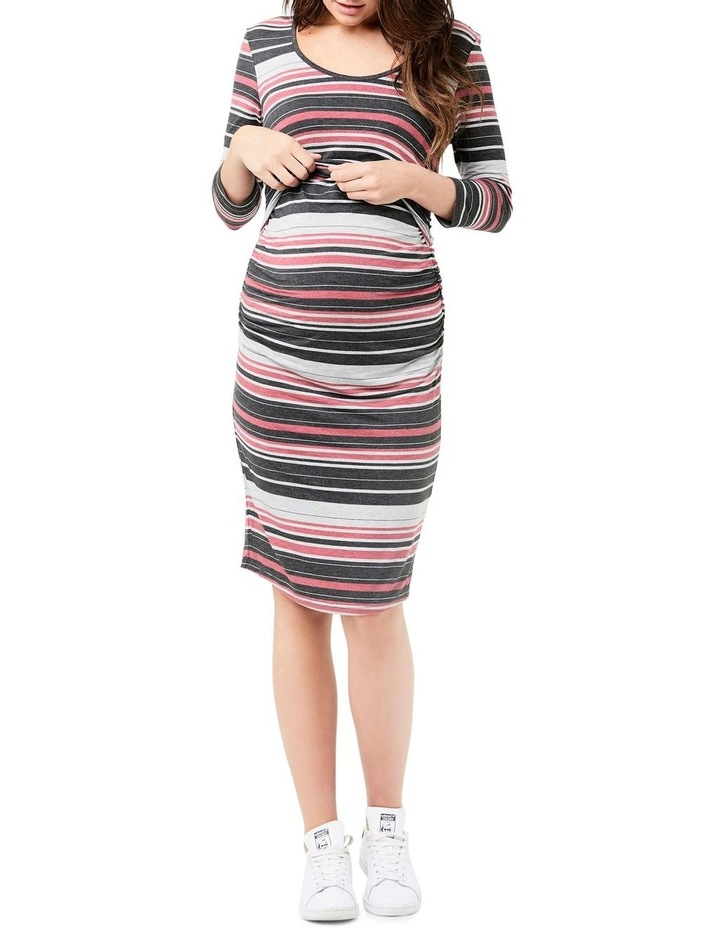 Striped Nursing Tube Dress-Long Sleeve image 2
