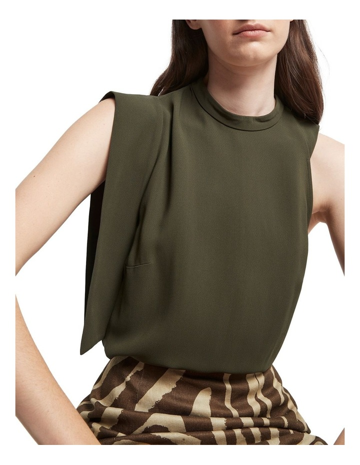 Downtown Dreams Asymmetrical Top Olive image 4