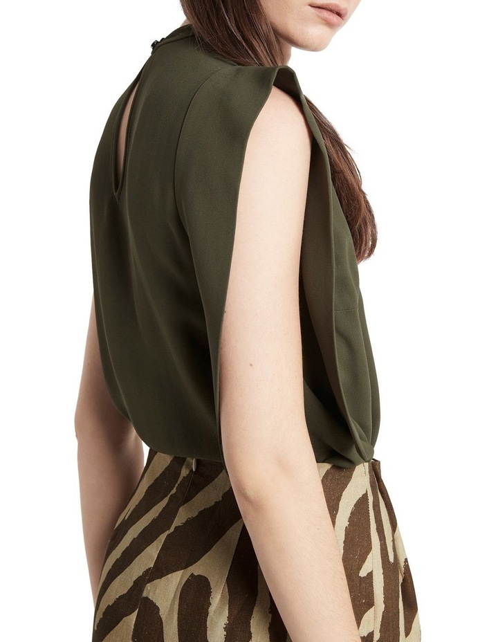 Downtown Dreams Asymmetrical Top Olive image 5