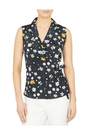 David Lawrence - Sleeveless Ditsy Floral Print Top