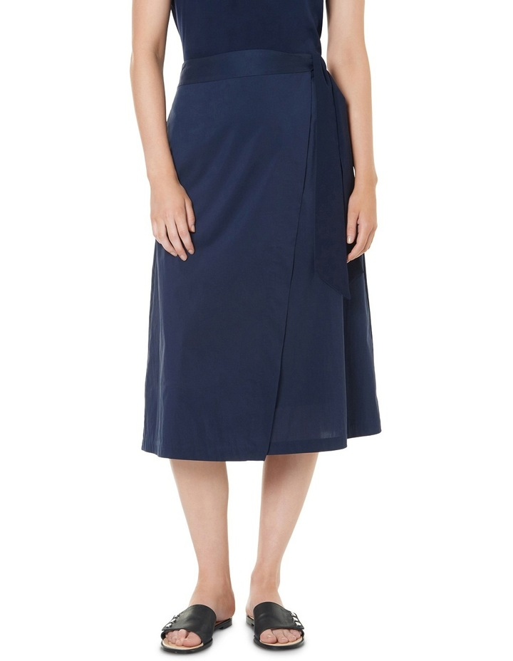Cotton Sheen Wrap Midi Skirt image 1