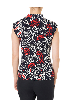 David Lawrence - Rose Print Jersey Wrap Top