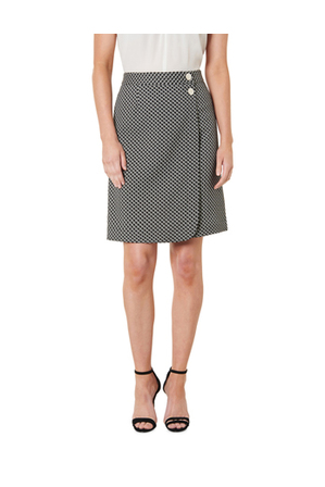 David Lawrence - Lacey Wrap Front Jacquard Skirt