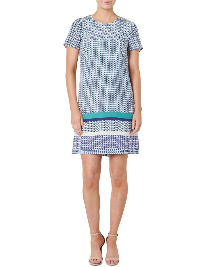 Geo Printed Silk Shift Dress image 1