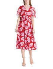 Flutter Sleeve Peony Print Dress