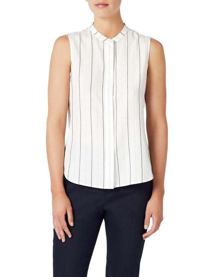 Stripe Sleeveless Linen Shirt image 1