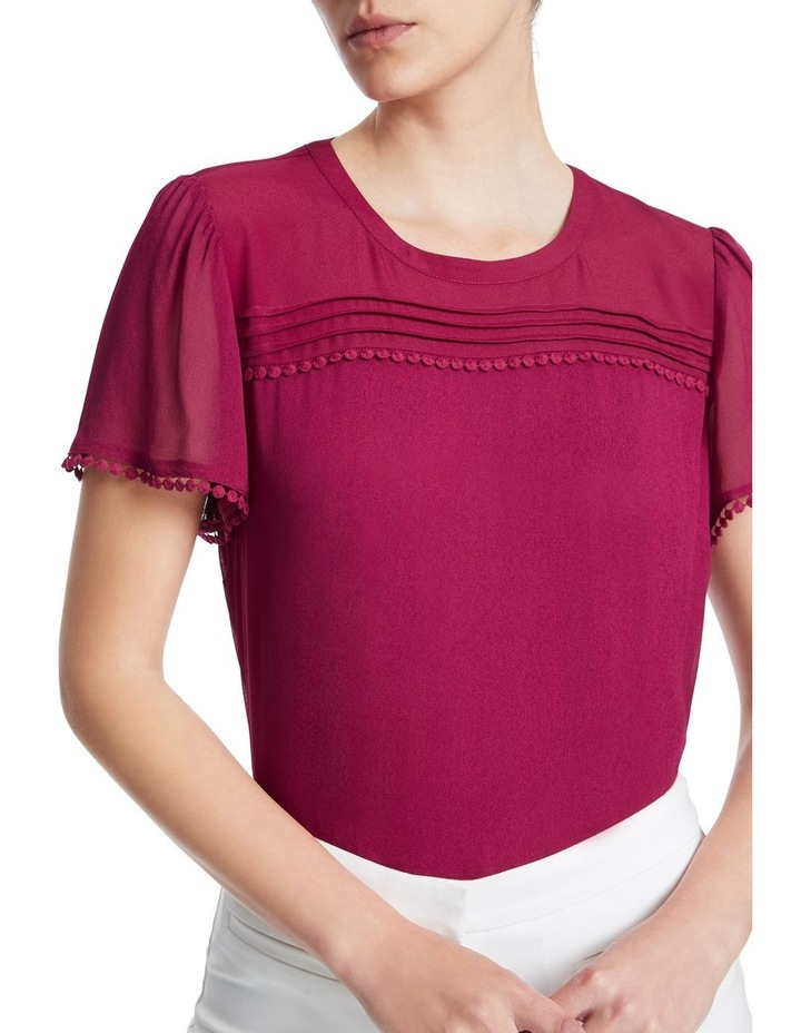 Raspberry Viscose Georgette Top image 4