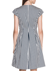 Cue - Stripe Cotton Twill Zip Front Dress