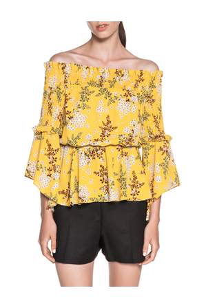 Cue - Shirred Off The Shoulder Floral Top