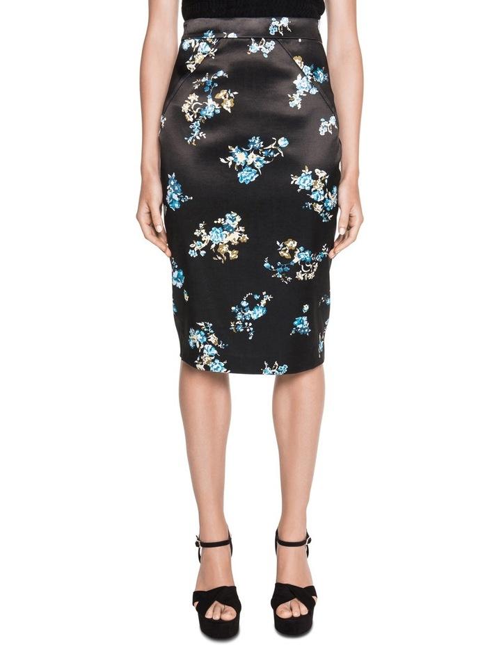 Satin Floral Pencil Skirt image 1