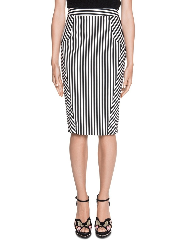 Stripe Cotton Twill Pencil Skirt image 1