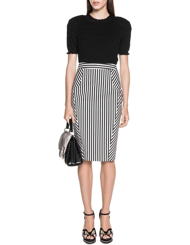 Stripe Cotton Twill Pencil Skirt image 3